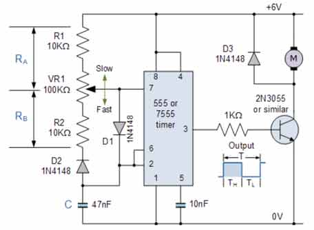 pulse width modulation circuit using a 555 timer in astable mode