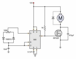 12V DC motor speed control circuit diagram with 555 timer IC